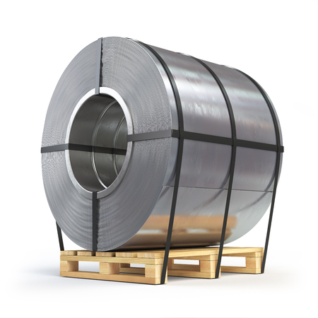 Steel sheet rolled, metal roll on a pallet. Production, delivery and storage of metal products. 3d illustration Stock Photo