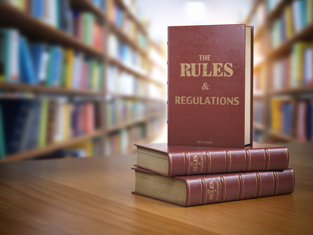 Rules and regulations books with official instructions and directions of organization or team. 3d illustration
