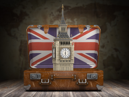 Trip to London. Travel or tourism to England or Great Britain concept. Big Ben tower in the open vintage suitcase. 3d illustration Stock Photo