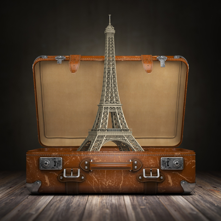 Trip to Paris. Travel or tourism to France concept. Eiffel tower and vintage suitcase. 3d illustration