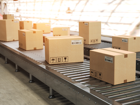 Conveyor line with cadrboard boxes on it in distribution warehouse, Delivery, storage and transportation service concept. 3d illustration Stock Photo