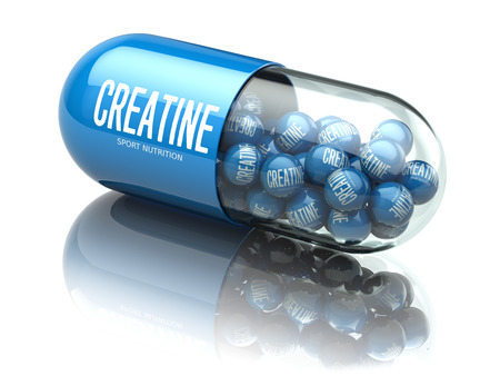 Creatine capsiule isolated on white background. Sport nutrition and supplement for bodybuilding concept. 3d illustration Stock Photo