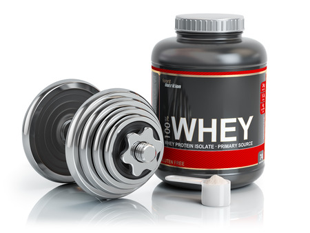 Whey protein powder  with scoop and dumbbell.Bodybuilder nutrition(supplement) concept. 3d illustration. Stock Photo