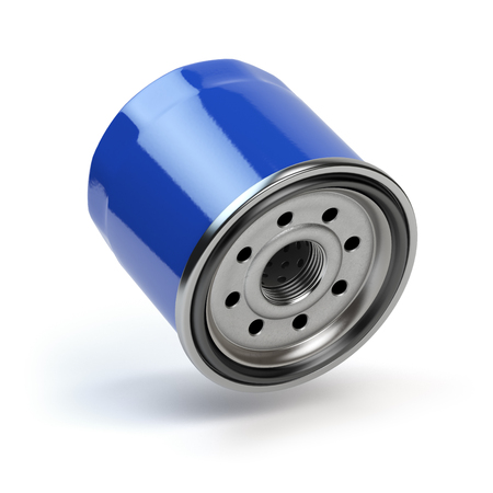 Oil filter isolated on white background. Automobile spare part. 3d illustration
