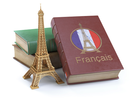 Learn and studiyng French concept. Book with  French flag and Eiffel tower isolated on white. 3d Iluustration