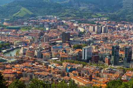 Aerial view of Bilbao city, Biscay, Basque country. Spain Stock Photo