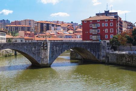 San Anton bridge is an arch bridge in Bilbao, Basque country. Spain Stock Photo