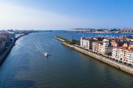 Portugalete and Las Arenas harbour and river Nervion. View from Vizcaya Bridge.  Basque country. Spain