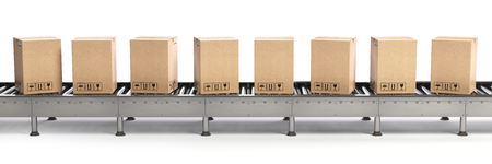 Delivery, packaging and e-commerce concept. Conveyor belt and cadrboard boxes isolated on white. 3d illustration Stock Photo