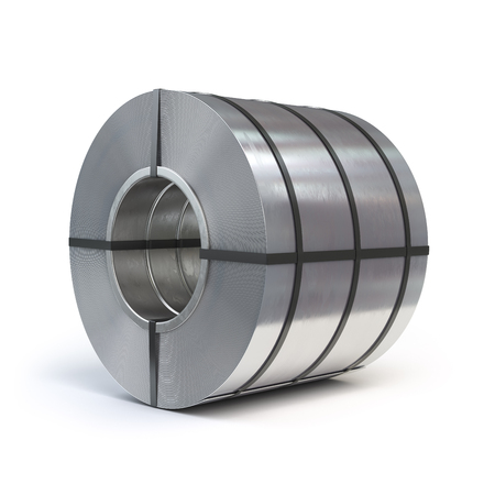 Roll of rolled steel sheet isolated on white background. Production, delivery and storage of metal products. 3d illustration Stock Photo