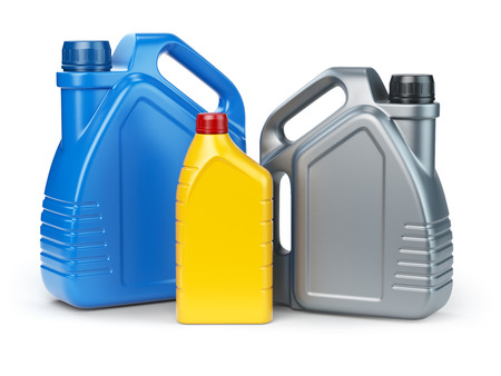 Different types of plastic canisters of motor oil on white isolated background. 3d illustration Stock Photo