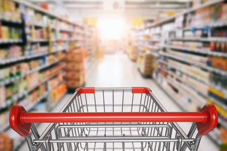 Empty shopping cart in supermarket. 3d illustration
