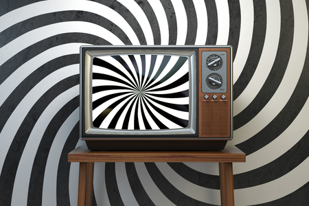 Propaganda and brainwashing of the influential mass media concept. Vintage TV set with hypnotic spiral on the screen. 3d illustration Stock Photo