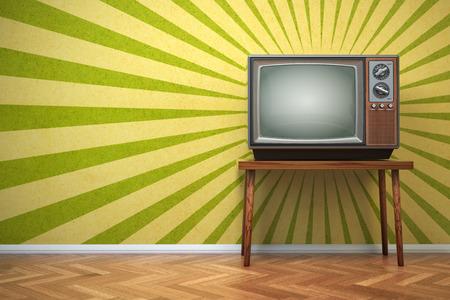 Retro old TV set on the vintage background. 3d illustration