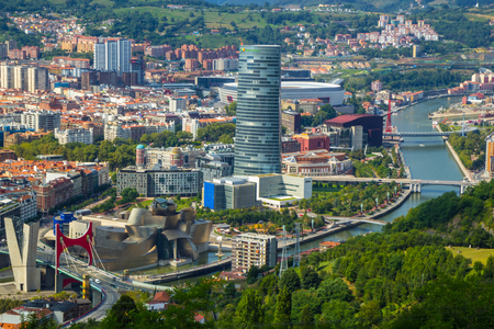 Aerial view of Bilbao city, Biscay, Basque country. Spain Editorial