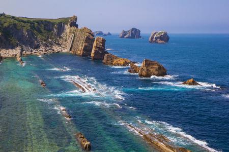 Arnia coast and Arnia beach.Santander. Cantabria. Spain.