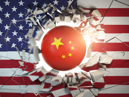 China and USA  tariff war and trade problem concept. Demolition ball in colors of China flag break a wall in colors of USAflag. 3d illustration
