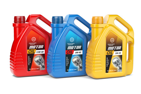 Motor oil canisters with different types of motor oil on white isolated background.. 3d illustration