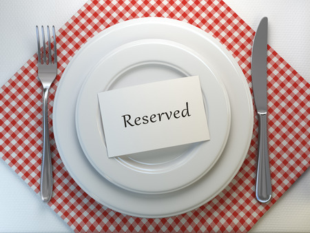 Reserved card on a restaurant table setting. Top view. Mock up. 3d illustration Stock Photo
