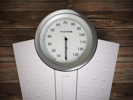 Analog weight scale on wood floor. 3d illustration Stock Photo