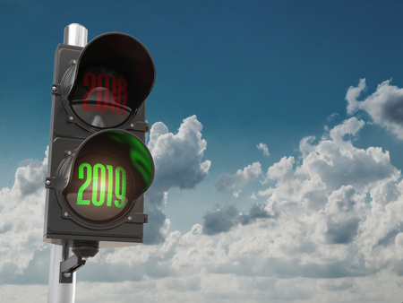 Happy new year 2019. Traffic light with green light 2019 on sky background. 3d illustration