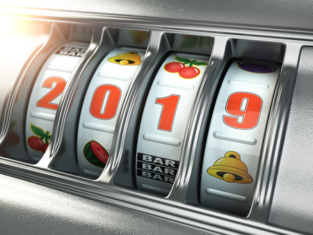 Happy New Year 2019 in casino. Slot machine with jackpot number 2019. 3d illustration