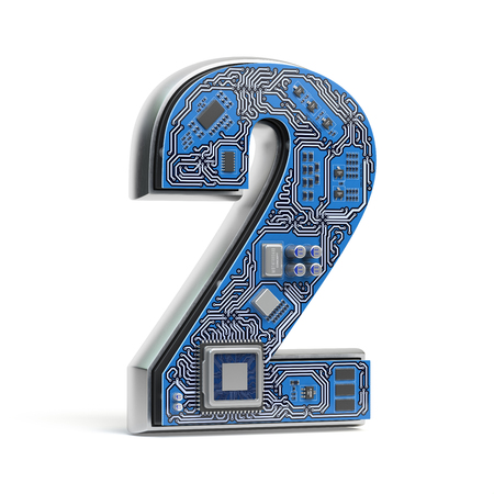 Number 2 two, Alphabet in circuit board style. Digital hi-tech letter isolated on white. 3d illustration Stock Photo