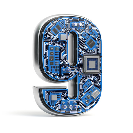 Number 9 nine. Alphabet in circuit board style. Digital hi-tech letter isolated on white. 3d illustration
