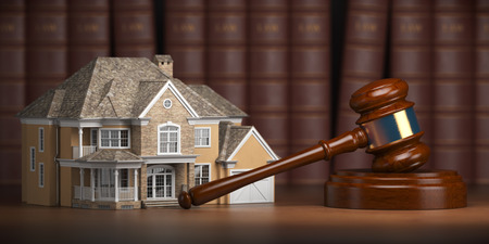 House with gavel and law books.  Real estate law and house auction concept. 3d illustration Stock Illustration - 112819393