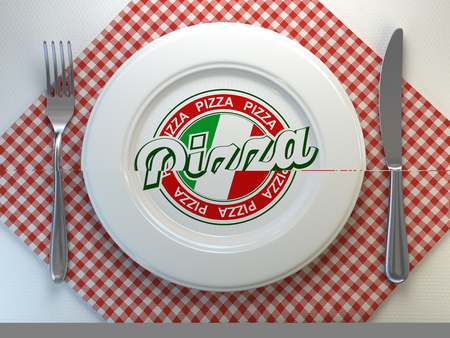 Pizza text on the plate in italian restaurant. Top view. 3d illustration Stock Photo