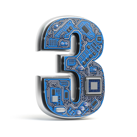 Number 3 three, Alphabet in circuit board style. Digital hi-tech letter isolated on white. 3d illustration