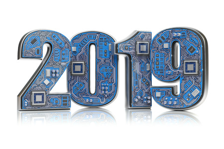 2019 on circuit board or motherboard with cpu isolated on white. Computer technology and internet commucations concept. Happy new 2019 year.3d illustration