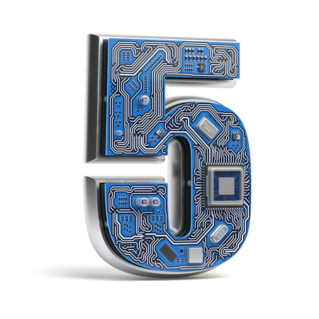 Number 5  five, Alphabet in circuit board style. Digital hi-tech letter isolated on white. 3d illustration