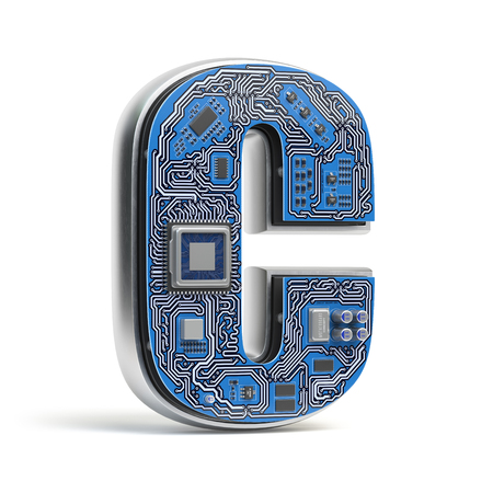 Letter C, Alphabet in circuit board style. Digital hi-tech letter isolated on white. 3d illustration Stock Photo