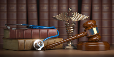 Gavel, stethoscope and caduceus sign on books background. Mediicine laws and legal, medical jurisprudence. 3d illustration 写真素材 - 112819422
