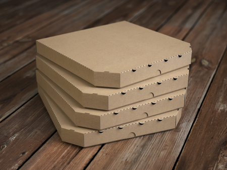 Pizza boxes on vintage wooden planks. Mock up. 3d illustration