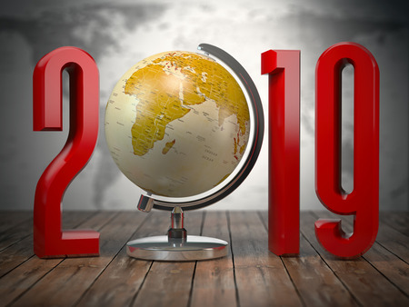 2019 happy new year globe. 3d illustration Stock Photo