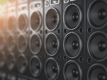 Audio  sound speaker system. Black loudspeakers in a row with DOF effect. Music club background. 3d illustration
