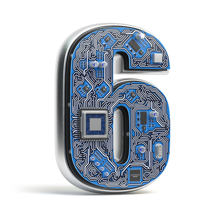 Number 6 six, Alphabet in circuit board style. Digital hi-tech letter isolated on white. 3d illustration Stock Photo