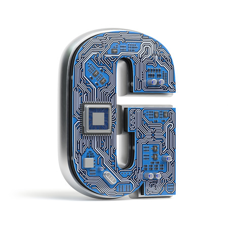 Letter G.  Alphabet in circuit board style. Digital hi-tech letter isolated on white. 3d illustration Stock Photo
