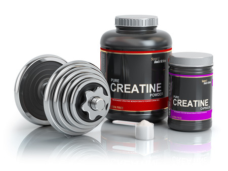 Creatine powder with scoop and dumbbell.Bodybuilder nutrition(supplement) concept. 3d illustration. Stock Photo