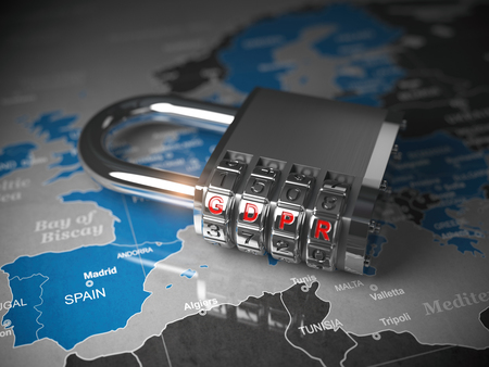 GDPR UA General Data Protection Regulation concept. Padlock with GDPR code on the map of Europe. 3d illustration Stock Photo