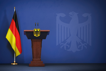 Press conference  of premier minister of Germany concept, Politics of Germany. Podium speaker tribune with Germany flags and coat arms. 3d illustration