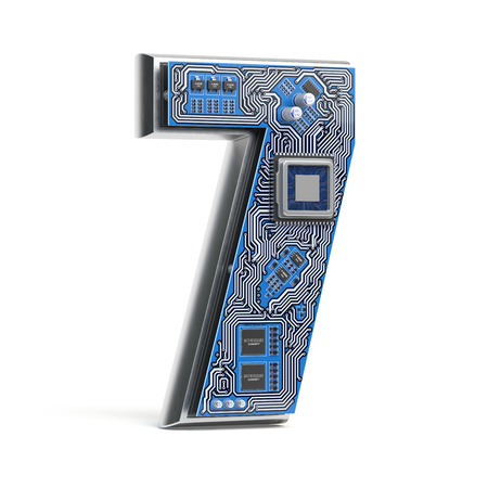 Number 7 seven, Alphabet in circuit board style. Digital hi-tech letter isolated on white. 3d illustration Stock Photo