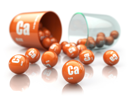 Capsule with calcium CA element Dietary supplements. Vitamin pill. 3d illustration Reklamní fotografie