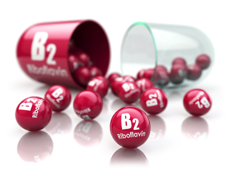 Vitamin B2 capsule. Pill with riboflavin. Dietary supplements. 3d illustration Stock Photo