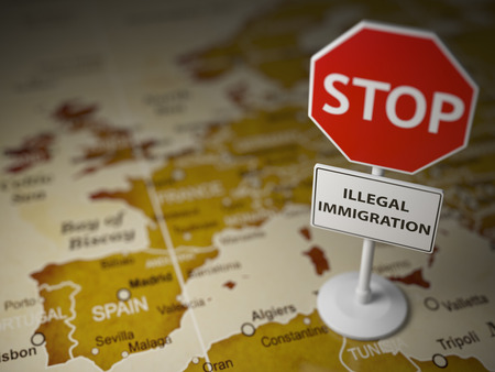 Stop illegal immigration concept. Sign stop on the map of Europe. 3d illustration Stock Photo