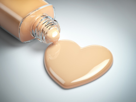 Liquid makeup foundation cream in form of the heart symbol and glass bottle. 3d illustration Stock Photo