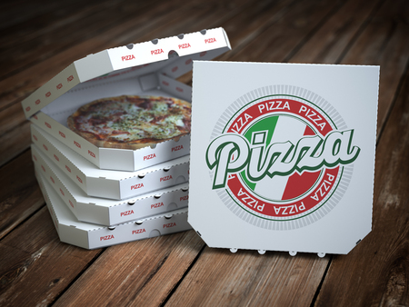 Pizza boxes with pizza  on vintage wooden planks. 3d illustration