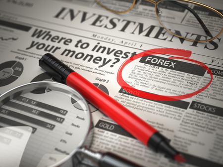 FOREX is the best option to invest. Where to Invest concept, Investmets newspaper with loupe and marker. 3d illustration Stock Photo